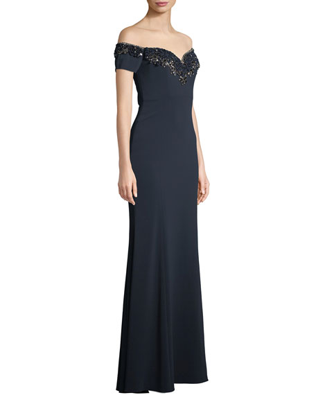 Badgley Mischka Collection Off-the-Shoulder Gown w/ Embellished Collar