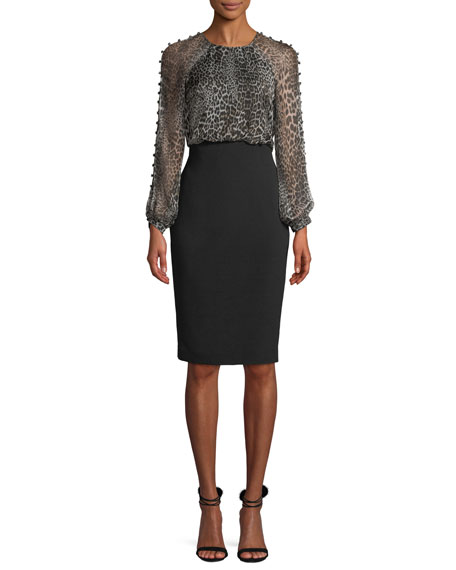 Badgley Mischka Collection Leopard Dress w/ Button Sleeves