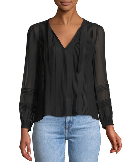 Long-Sleeve V-Neck Chiffon Top