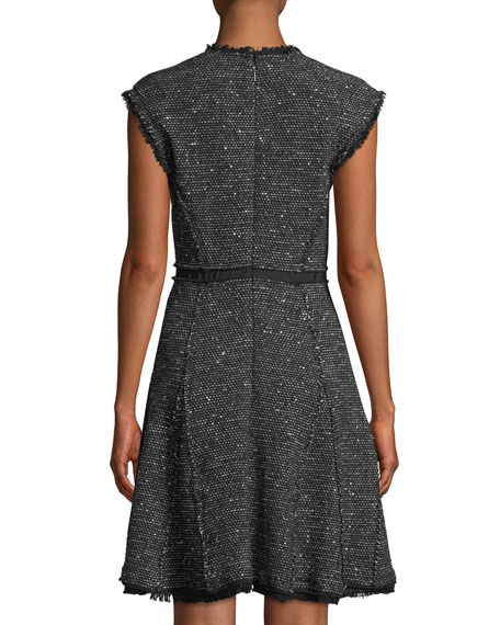 Image 2 of 4: Rebecca Taylor Sleeveless V-Neck Sparkle Tweed Fit-and-Flare Dress
