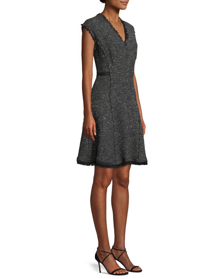 Image 3 of 4: Rebecca Taylor Sleeveless V-Neck Sparkle Tweed Fit-and-Flare Dress