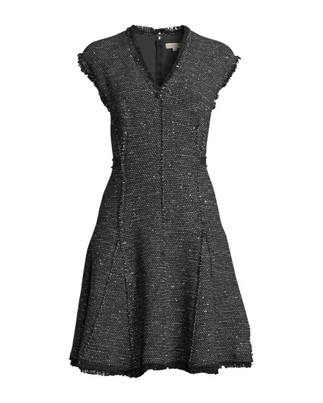 Image 4 of 4: Rebecca Taylor Sleeveless V-Neck Sparkle Tweed Fit-and-Flare Dress