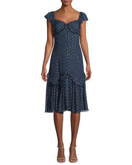 Sleeveless Sweetheart-Neck A-Line Speckled Dot Silk Habotai Midi Dress