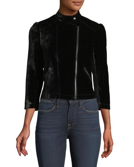 3/4-Sleeve Short Velvet Moto Jacket