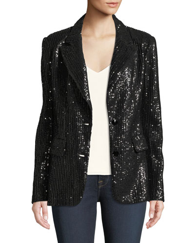 Two-Button Notch-Lapel Sequined Blazer, Petite