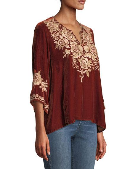 Ollena Floral-Embroidered Velvet Top