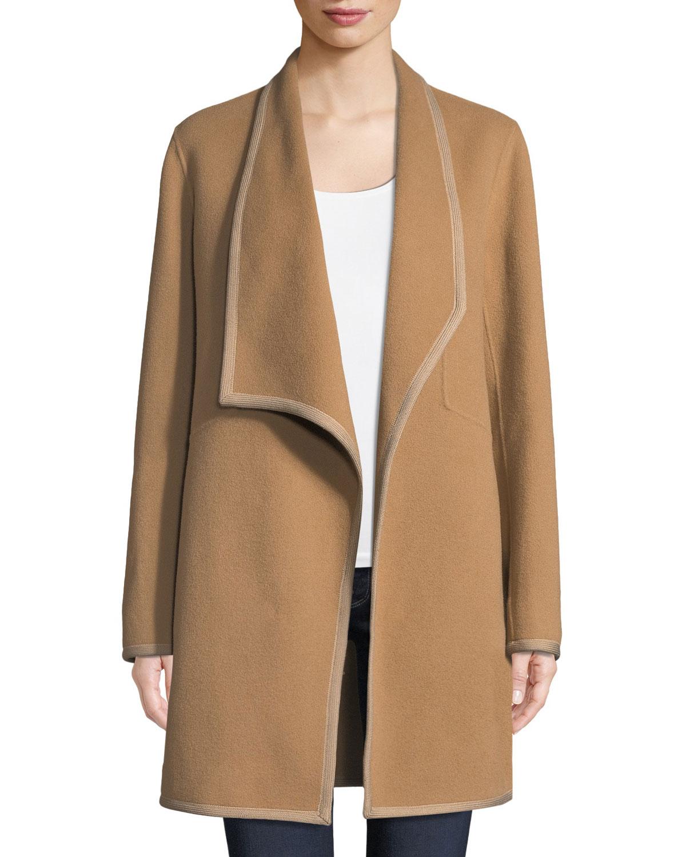 0881f9983cf6 Elie Tahari Christina Contrast-Trim Wool Coat | Neiman Marcus