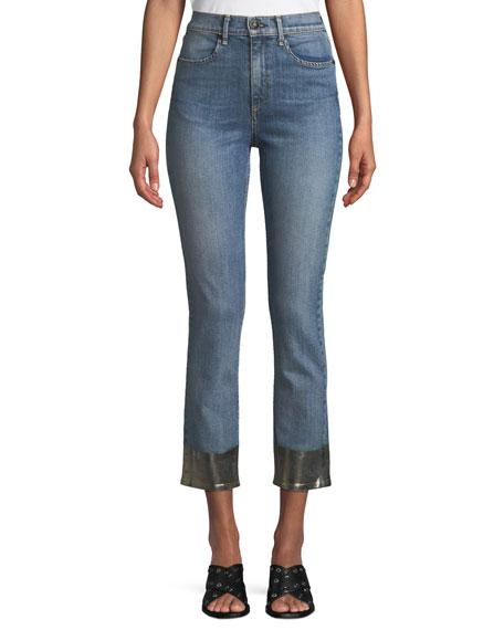 Rag & Bone Ankle Cigarette Jeans w/ Metallic Hem