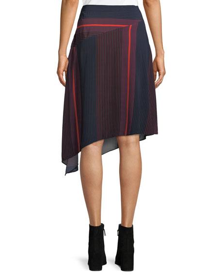 Moni Striped Asymmetric Midi Skirt