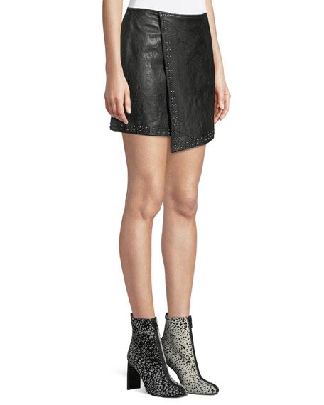 Joie Orlanda Draped Studded Lamb Leather Skirt