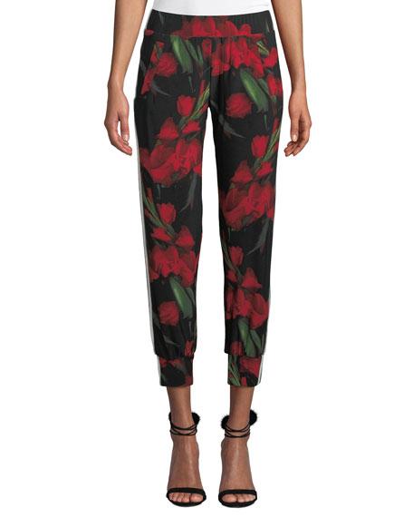 Norma Kamali Floral-Print Side-Stripe Ankle Jogger Pants