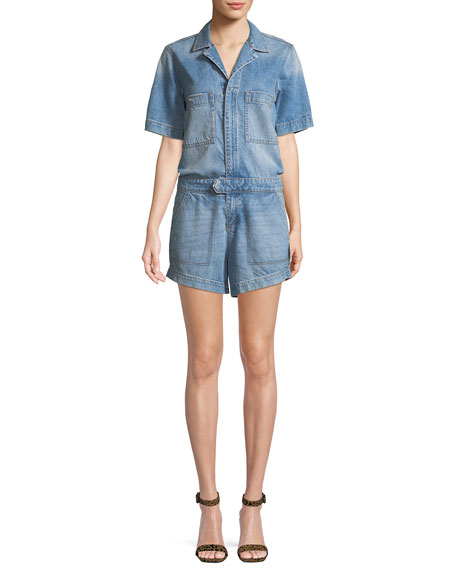 DL1961 Premium Denim Hannah Zip-Front Denim Romper