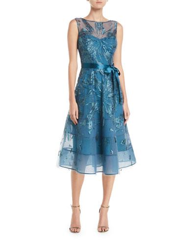 Sleeveless A-Line Dress w/ Sequin Appliques