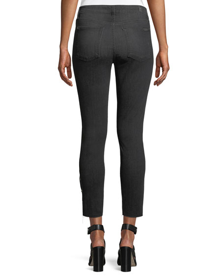 Image 2 of 4: Cropped Grommet-Trim Ankle Skinny Jeans