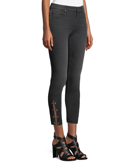 Image 3 of 4: Cropped Grommet-Trim Ankle Skinny Jeans