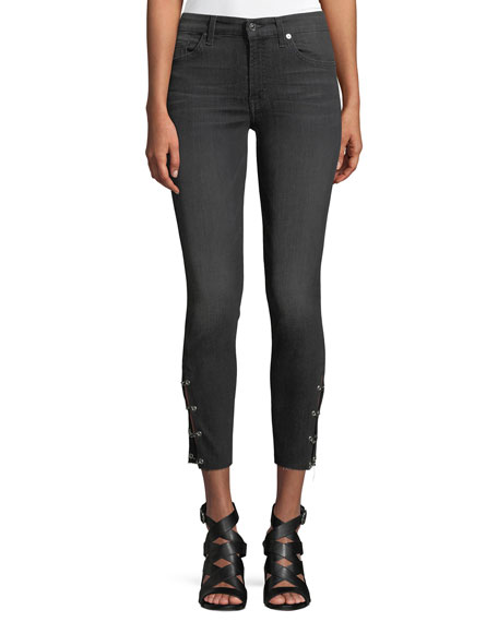 Image 1 of 4: Cropped Grommet-Trim Ankle Skinny Jeans