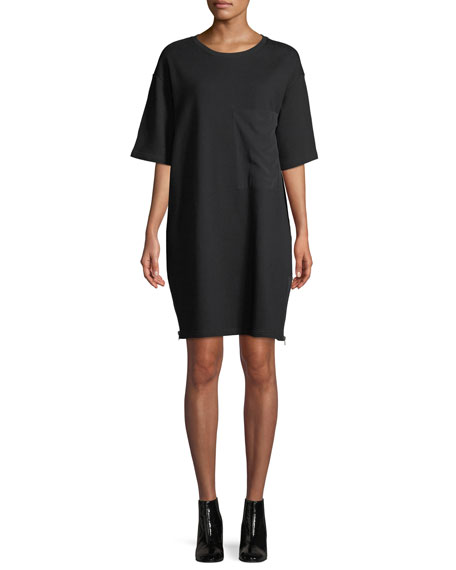 7 For All Mankind Side-Zip Crewneck Tee Dress