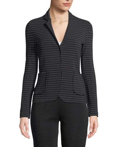 Soft Touch Striped Single-Breasted Blazer