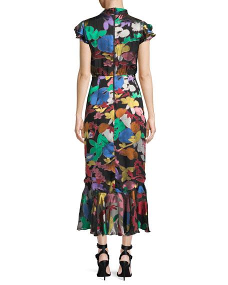 Lessie Floral Tie-Neck Flounce  Dress