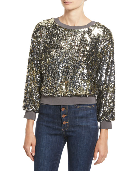 Alice + Olivia Smith Embellished Ribbed-Trim Cropped Sweatshirt