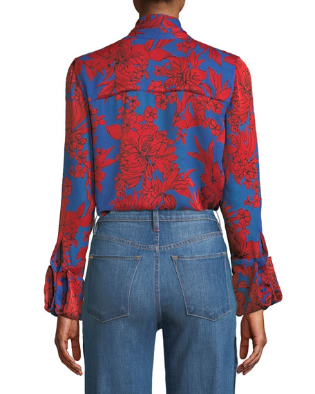 Gwenda Tie-Neck Cropped Blouse