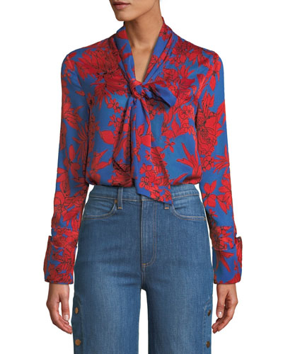 Gwenda Cropped Floral Tie-Neck Blouse