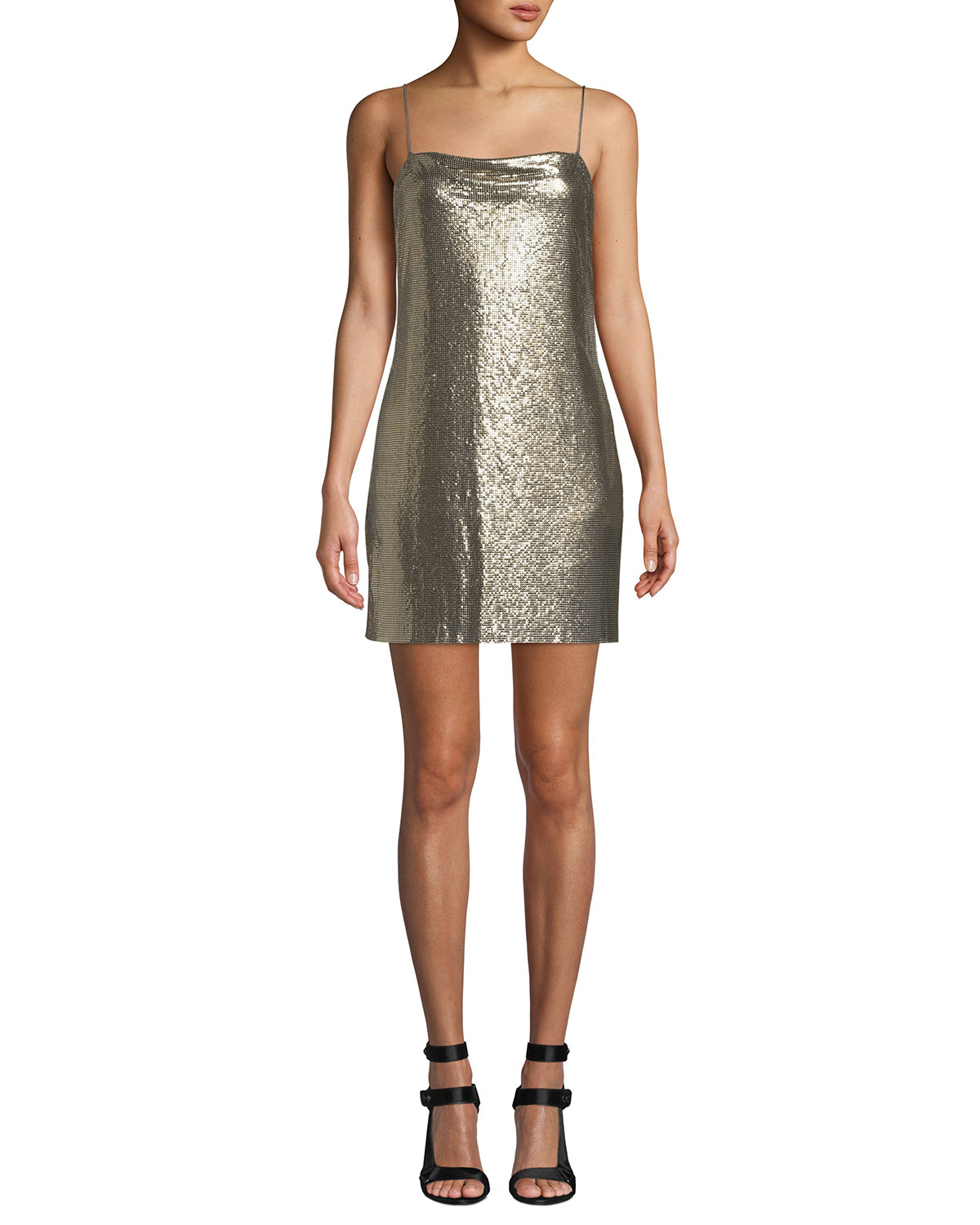 864673a02e Alice + Olivia Harmony Chainmail Mini Slip Dress