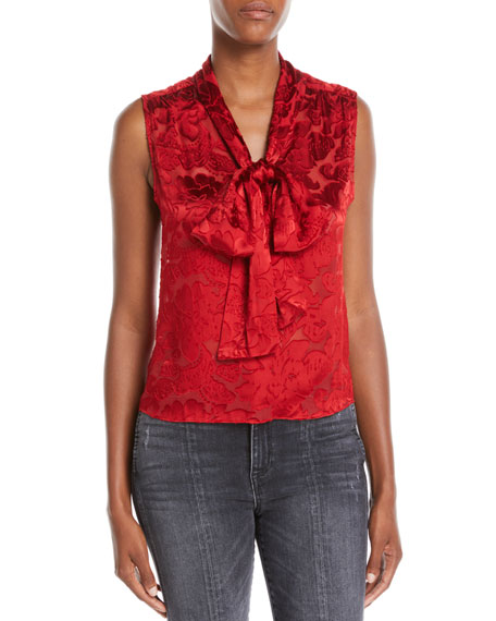 Arie Sleeveless Tie-Neck Blouse