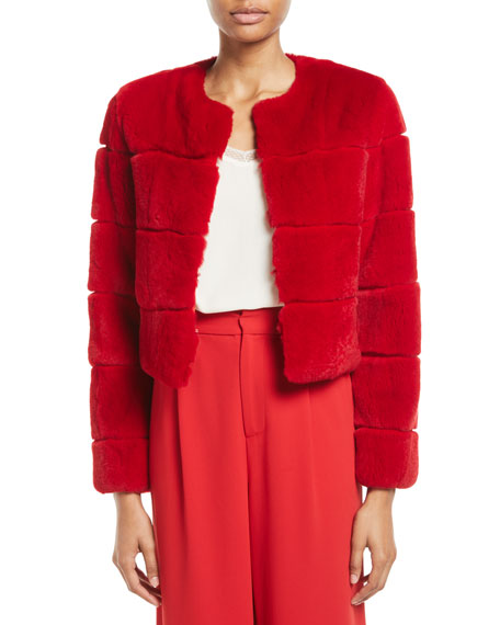 Theon Rabbit Fur Box Crop Coat