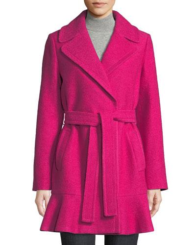 transitional boiled flounce-hem wool coat