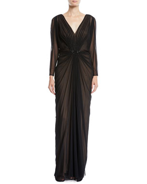 08e87d2a5a Tadashi Shoji Long-Sleeve Ruched V-Neck Gown w  Beading