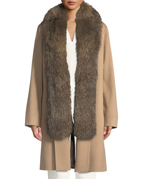 Fleurette Wool Clutch Coat w/ Fox Fur Tuxedo