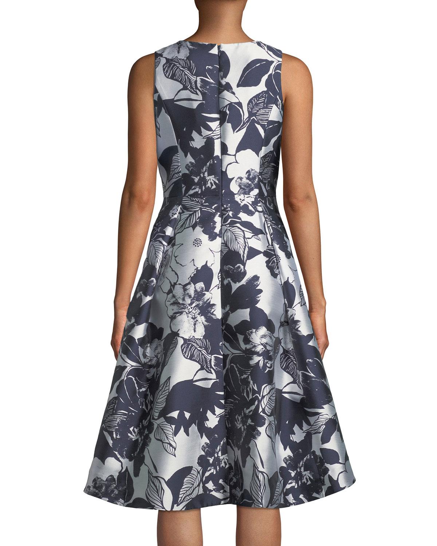 7399d6d92105 Shoshanna Coraline Fit-&-Flare Dress in Metallic Floral Print | Neiman  Marcus