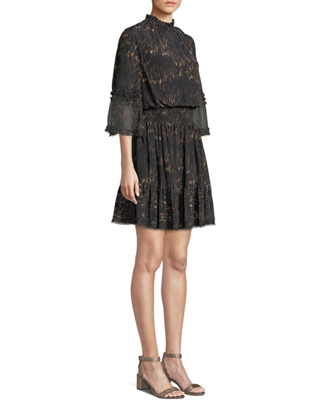 Myra Leopard-Print Silk Dress w/ Pleated Skirt