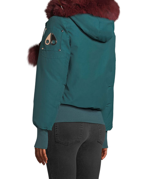 Yorkdale Bomber Jacket w/ Fur Pompoms & Detachable Hood