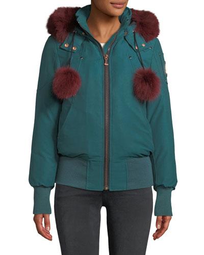 Yorkdale Bomber Jacket w/ Fur Pompoms & Detachable Hood