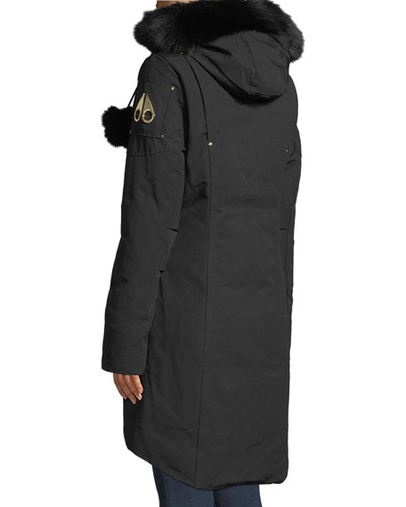 Image 3 of 4: Governor Lake Long Parka w/ Fur Trim & Pompoms
