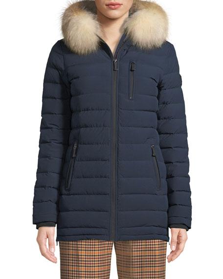 Roselawn Puffer Jacket W/ Fur Hood in Navy