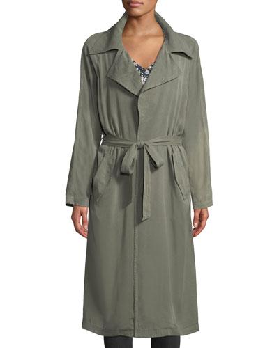 Self-Belt Garment-Dye Twill Trench Coat, Plus Size