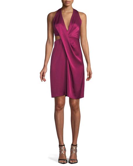 Halston Heritage Satin Halter Dress w/ Side Cutout