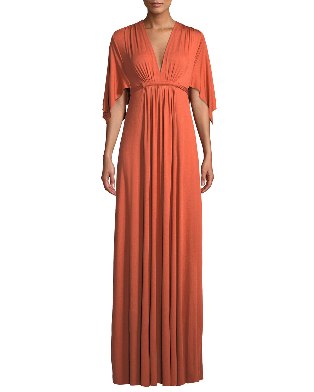 Plus Size V-Neck Kimono-Sleeve Empire-Waist A-Line Long Caftan Dress