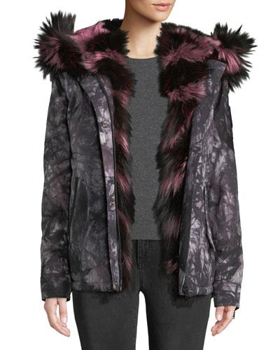 Riviere Du-Loup Printed Jacket w/ Hood & Fur Trim