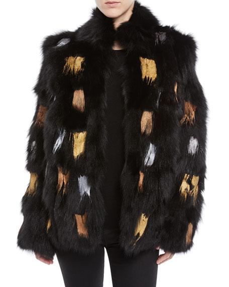 Joliette Painted Fur Jacket in Black