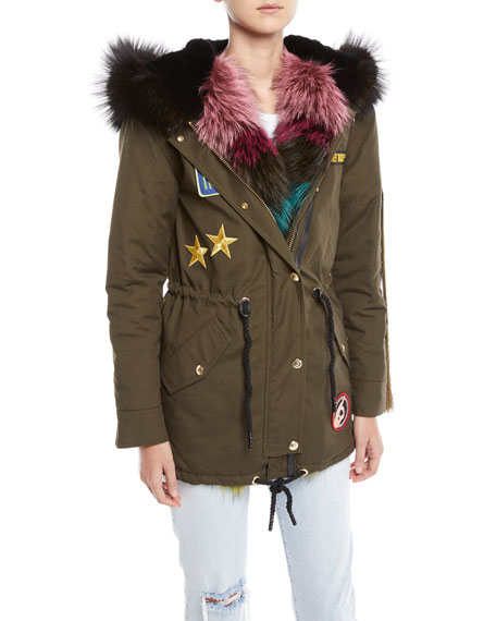 Superfreak Hooded Parka Coat W/ Fur Trim & Patches in Olive