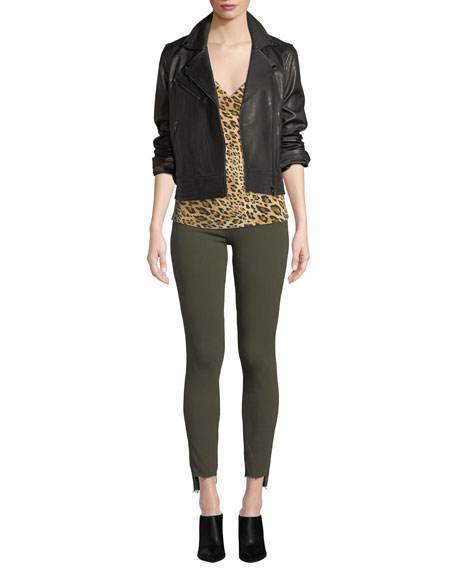 Le High Raw Stagger-Hem Skinny Jeans