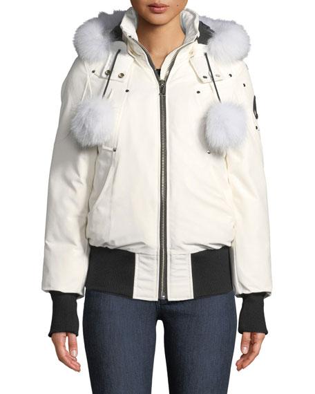Debbie Long-Sleeve Zip-Front Bomber Jacket W/ Pompoms, White