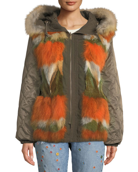 St. Fabien Reversible Jacket W/ Fur Trim in Olive