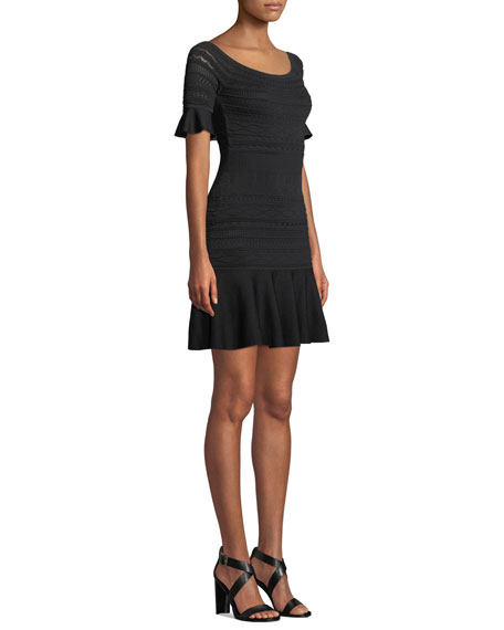 Image 3 of 3: Alexis Maila Short-Sleeve Knit Flounce Dress
