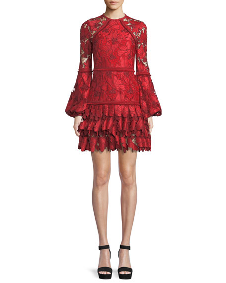 Fransisca Floral Lace Blouson-Sleeve Dress, Red