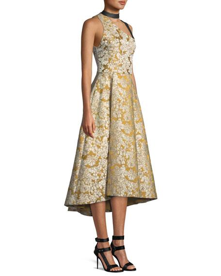 Chrissy Leather Combo Cutout Flare Dress